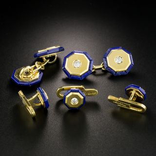 Vintage Lapis Lazuli and Diamond Cufflink and Stud Set, Signed Weingrill