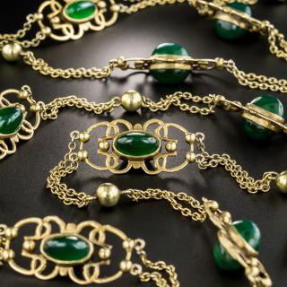 Vintage Long Chrysoprase Gold Chain   - 2