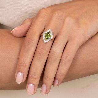 Vintage Lozenge-Shaped Peridot and Diamond Ring