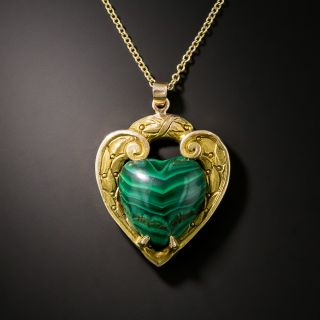 Vintage Malachite Heart Pendant - 2
