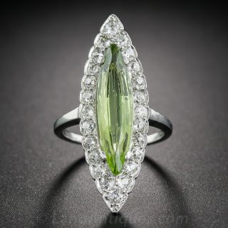 Vintage Marquise Peridot Ring with Diamonds