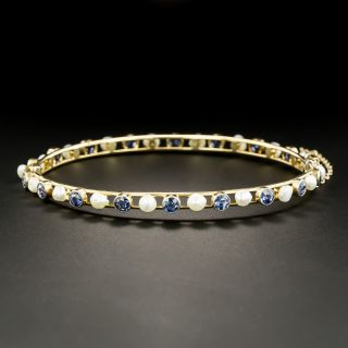 Vintage Montana Sapphire and Natural Freshwater Pearl Bangle Bracelet - 2