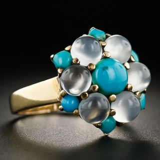 Vintage Moonstone and Turquoise Ring