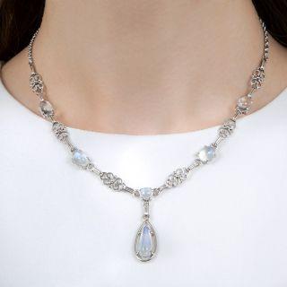 Vintage Moonstone Necklace, Circa 1930s