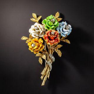 Vintage Multi-Color Enamel and Diamond Bouquet Brooch - 1