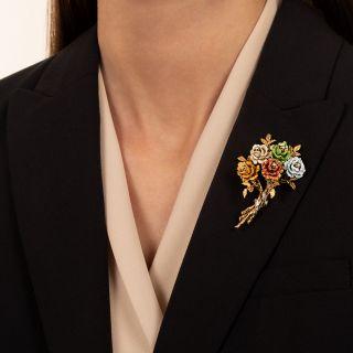 Vintage Multi-Color Enamel and Diamond Bouquet Brooch