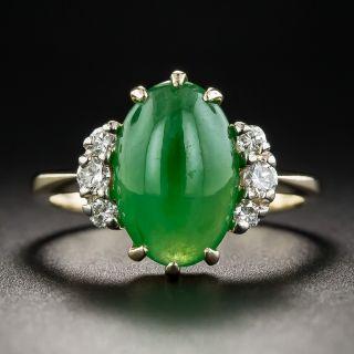 Vintage Natural Burmese Jade and Diamond Ring - 1