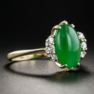 Vintage Natural Burmese Jade and Diamond Ring
