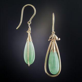 Vintage Natural Burmese Jade Earrings