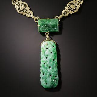 Vintage Natural Carved Jade Necklace