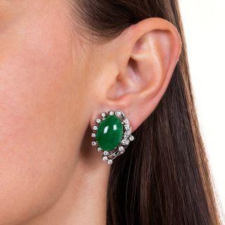 Vintage Natural Jade and Diamond Clip Earrings