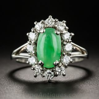 Vintage Natural Jade and Diamond Ring