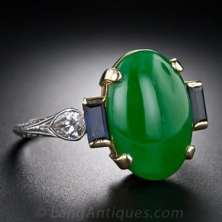 Vintage Natural Jade, Diamond and Sapphire Ring