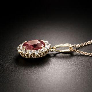 Vintage Natural No-Heat Fancy Color 2.25 Carat Sapphire and Diamond Pendant