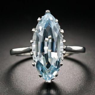 Vintage Navette Aquamarine Ring in Platinum