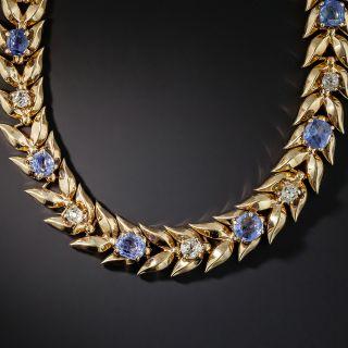 Vintage No-Heat Ceylon Sapphire and Diamond Leaf Necklace - 0