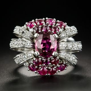 Vintage No-Heat Ruby and Diamond Cocktail Ring