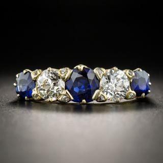 Vintage No Heat Sapphire Diamond Five-Stone Ring - Size 8 1/2 - 1