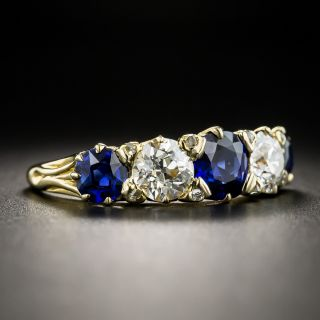 Vintage No-Heat Sapphire Diamond Five-Stone Ring - Size 8 1/2