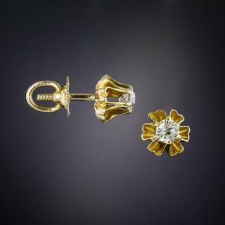 Vintage Old Mine-Cut Diamond Stud Earrings - 2