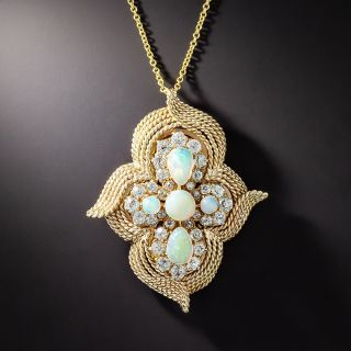 Vintage Opal and Diamond Pendant/Brooch - 1