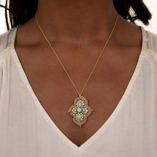 Vintage Opal and Diamond Pendant/Brooch