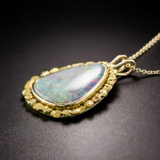 Vintage Opal and Gold Nugget Pendant