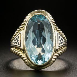 Vintage Oval-Cut Aquamarine and Enamel Ring - 2