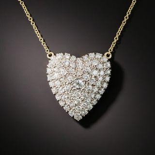 Vintage Pave' Diamond Heart Pin - 1