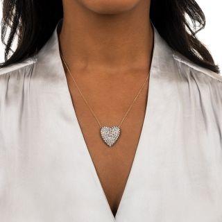 Vintage Pave' Diamond Heart Necklace