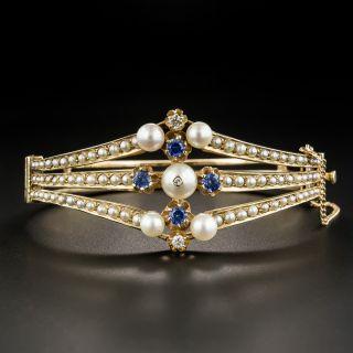 Vintage Pearl Sapphire Diamond Bangle Bracelet - 1