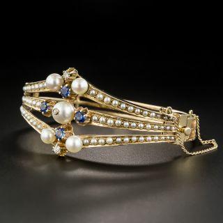 Vintage Pearl Sapphire Diamond Bangle Bracelet