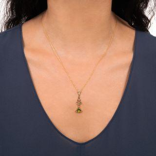 Vintage Peridot and Pearl Pendant by Allsopp & Allsopp
