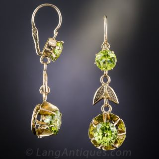 Vintage Peridot and Rose Gold Drop Earrings