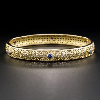 Vintage Pierced Sapphire Bangle Bracelet