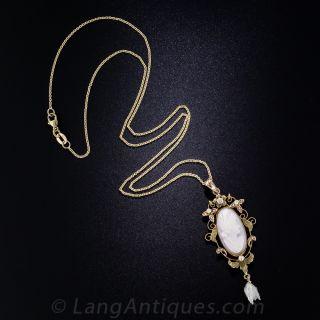 Vintage Pink Shell Cameo, Pearl and Diamond Pendant