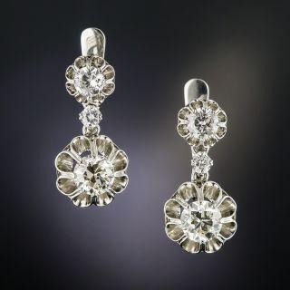 Vintage Platinum 2.60 Cts. Diamond Dangle Earrings  - 2