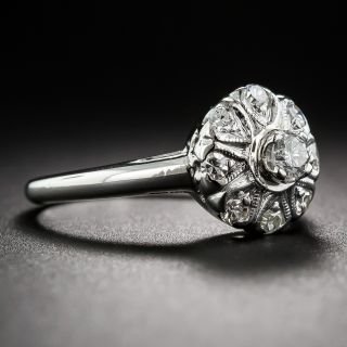 Vintage Platinum and Diamond Cluster Ring