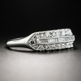 Vintage Platinum Baguette and Round Diamond Band Ring