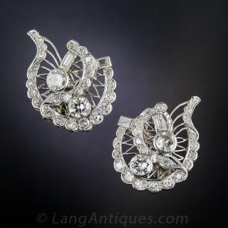 Vintage Platinum Diamond Earclips