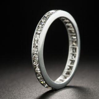 Vintage Platinum Diamond Eternity Wedding Band - 1
