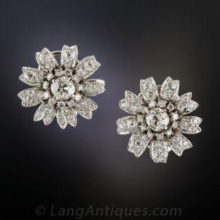 Vintage Platinum Diamond Flower Earrings