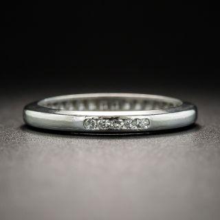 Vintage Platinum Diamond Wedding Band - 1