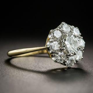 Vintage Platinum Over Gold Diamond Cluster Ring