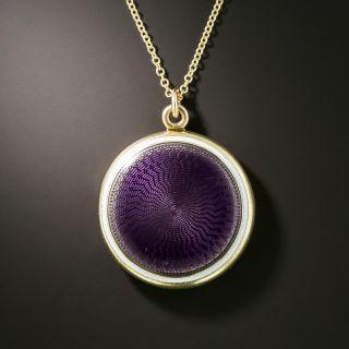 Vintage Purple Enamel Christian Locket by Sloan - 2