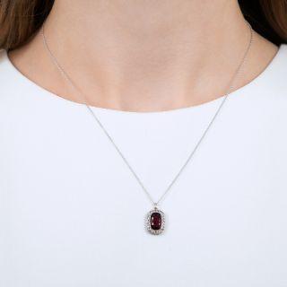 Vintage Raspberry Tourmaline and Diamond Pendant