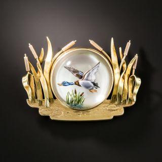 Vintage Reverse Crystal Intaglio Duck Brooch - 3