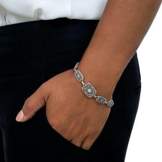Vintage Rock Crystal Quartz and Diamond Filigree Bracelet