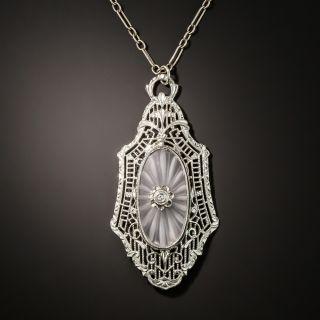 Vintage Rock Crystal Quartz and Diamond Filigree Necklace - 5