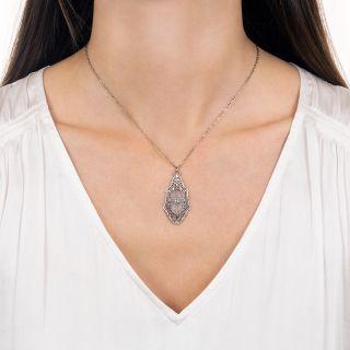 Vintage Rock Crystal Quartz and Diamond Filigree Necklace